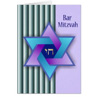 Colorful Star of David and Stripes Bar Mitzvah Car Greeting Card