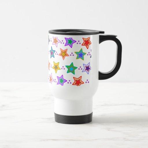 Colorful star pattern coffee mugs