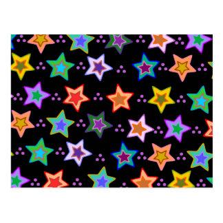 Colorful star pattern postcard