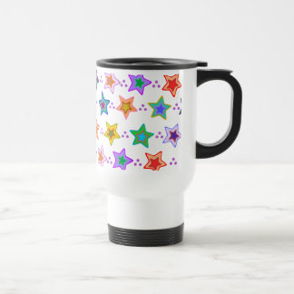 Colorful star pattern travel mug