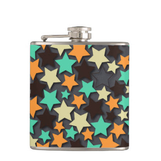 Colorful Star Pattern with Dark Background Hip Flask