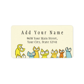Colorful Staring lot Cats Address Label