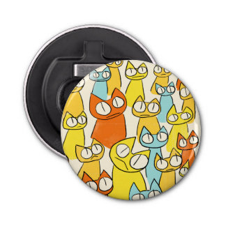 Colorful Staring lot Cats Button Bottle Opener