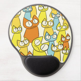 Colorful Staring lot Cats Button Gel Mouse Mat