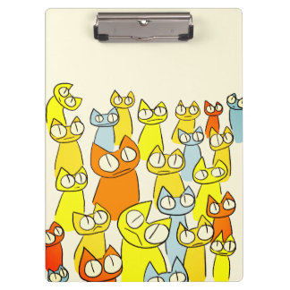 Colorful Staring lot Cats Clipboard