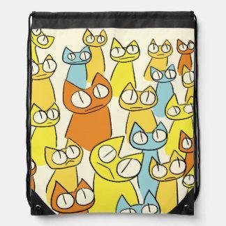 Colorful Staring lot Cats Drawstring Bag