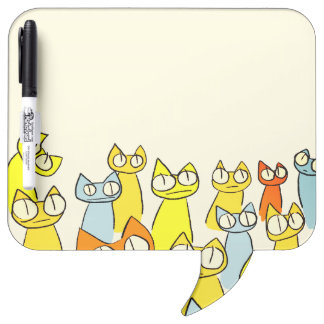 Colorful Staring lot Cats Dry Erase Board