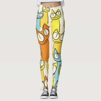 Colorful Staring lot Cats Leggings