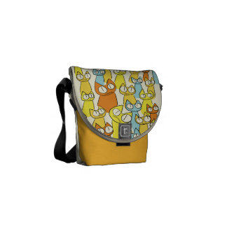 Colorful Staring lot Cats Messenger Bag