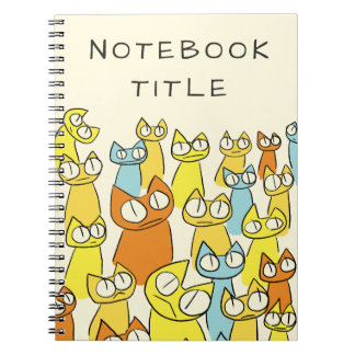Colorful Staring lot Cats Notebooks