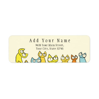 Colorful Staring lot Cats Return Address Label