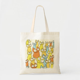 Colorful Staring lot Cats Tote Bag