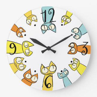 Colorful Staring lot Cats Wall Clock