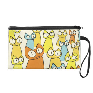 Colorful Staring lot Cats Wristlet Clutch