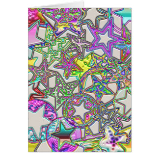 Colorful Stars Collage Greeting Card