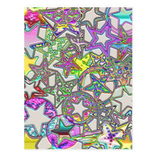 Colorful Stars Collage Post Card