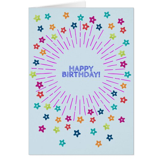Colorful stars in the sky Happy Birthday Card