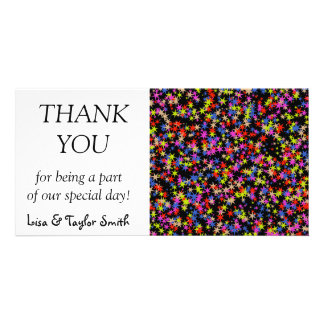 Colorful stars pattern photo greeting card