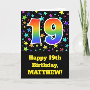 Colorful Stars Rainbow Pattern 19 Birthday Card