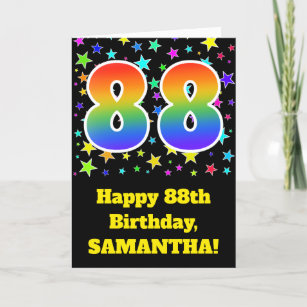 Colorful Stars Rainbow Pattern 88 Birthday Card