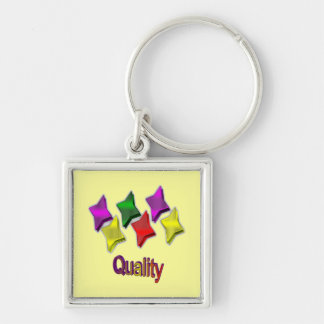 Colorful Stars Star Quality Silver-Colored Square Key Ring