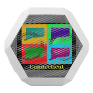 Colorful State of Connecticut Pop Art Map White Boombot Rex Bluetooth Speaker