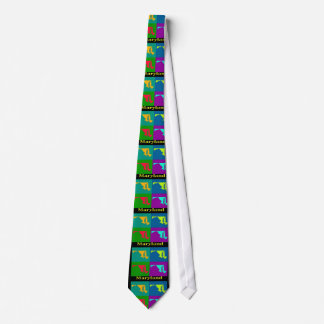 Colorful State of  Maryland Pop Art Map Tie
