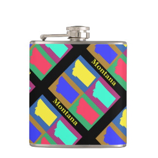 Colorful State of Montana Pop Art Map Flasks