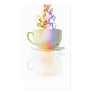 Colorful steaming coffee cup pack of standard business cards