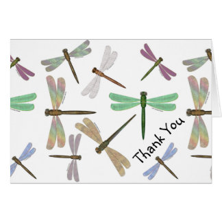 Colorful Steampunk Dragonflies Thank You Cards