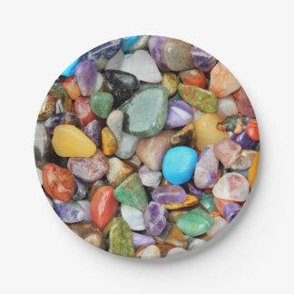 Colorful stones, pebbles, rocks paper plate