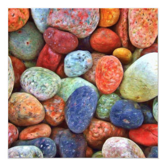 Colorful Stones, Rocks and Pebbles Gifts 13 Cm X 13 Cm Square Invitation Card