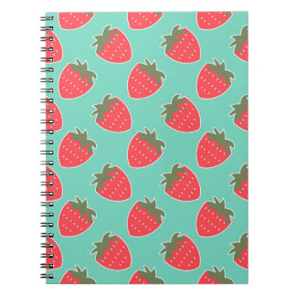 Colorful Strawberry Fruit Seamless Pattern Notebook