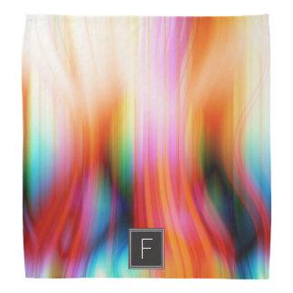 Colorful Streaked Abstract Monogram   Bandana
