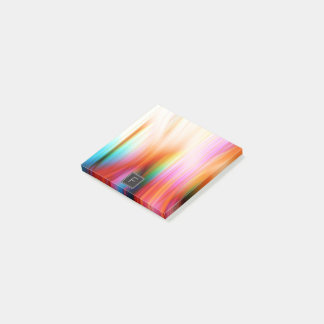 Colorful Streaked Abstract Monogram | Sticky Notes
