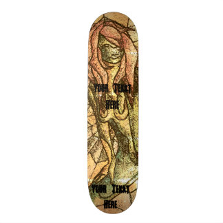 colorful street art style abstract lady retro custom skateboard