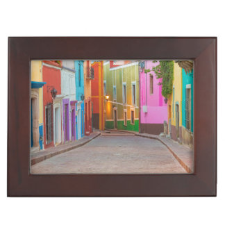 Colorful street scene keepsake box