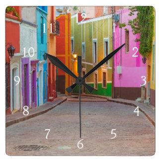 Colorful street scene square wall clock