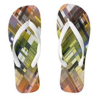 Colorful stripe pattern flip flops
