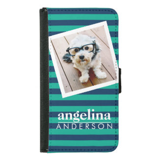 Colorful Striped Pattern Custom Name and Photo Samsung Galaxy S5 Wallet Case
