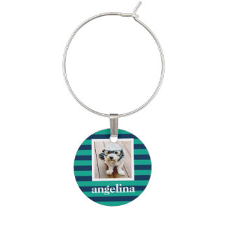 Colorful Striped Pattern Custom Name and Photo Wine Charm