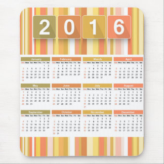 Colorful stripes 2016 calendar mouse pad