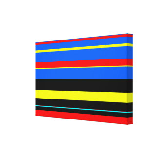 Colorful stripes abstract design stretched canvas print