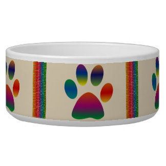 Colorful Stripes and Paw Pet Bowl