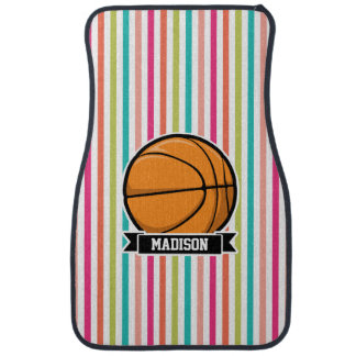 Colorful Stripes; Basketball Floor Mat