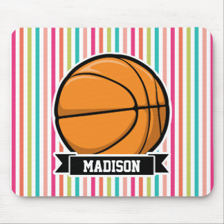 Colorful Stripes; Basketball Mouse Pad