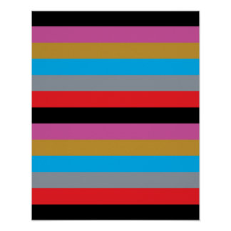 Colorful Stripes Black Pink Blue Gold Gray Red Poster
