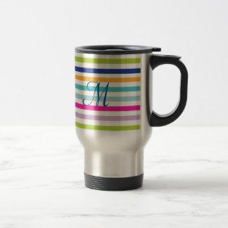 Colorful Stripes - Blue, Orange, Pink, Green Travel Mug