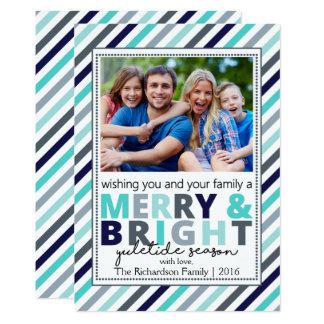 Colorful Stripes Christmas Photo Card 13 Cm X 18 Cm Invitation Card