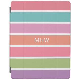 Colorful Stripes custom monogram device covers iPad Cover